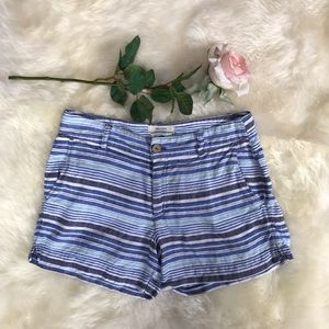 British Khaki 100% Linen Striped Shorts size 4